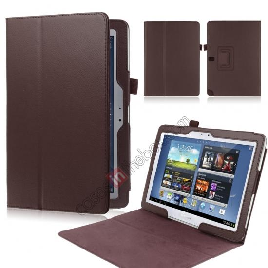 wholesale New Lychee Leather Pouch Case With Stand for Samsung Galaxy Note 10.1 P600/P601 2014 Edition - Brown