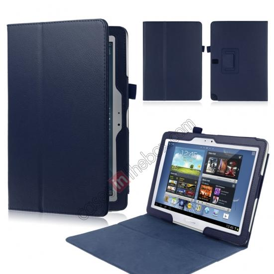 wholesale New Lychee Leather Pouch Case With Stand for Samsung Galaxy Note 10.1 P600/P601 2014 Edition - Dark Blue