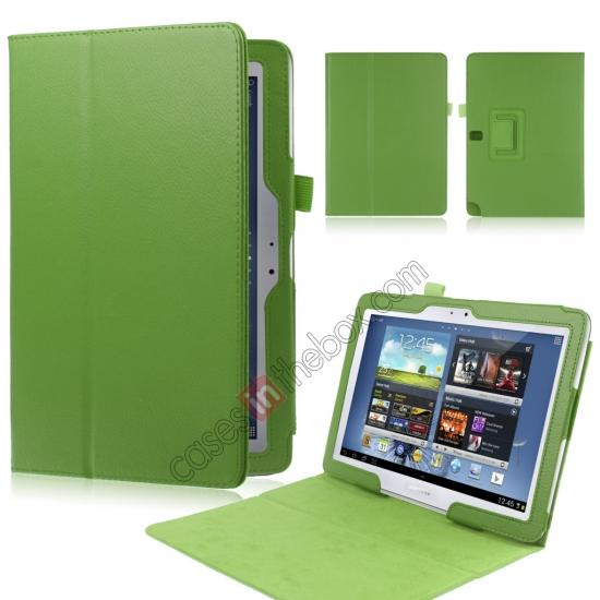 wholesale New Lychee Leather Pouch Case With Stand for Samsung Galaxy Note 10.1 P600/P601 2014 Edition - Green