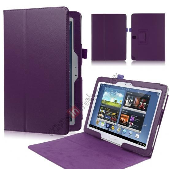 wholesale New Lychee Leather Pouch Case With Stand for Samsung Galaxy Note 10.1 P600/P601 2014 Edition - Purple