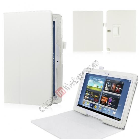 wholesale New Lychee Leather Pouch Case With Stand for Samsung Galaxy Note 10.1 P600/P601 2014 Edition - White
