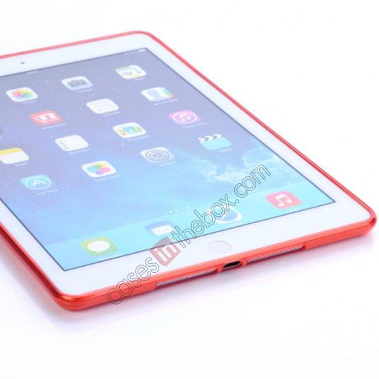 on sale High Quality Clear Transparent TPU Soft Case Cover for Apple iPad Air 5 - Red