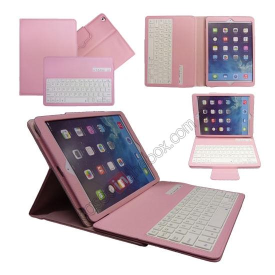 wholesale Leather Detachable Bluetooth Keyboard Case with Stand for iPad Air - Pink
