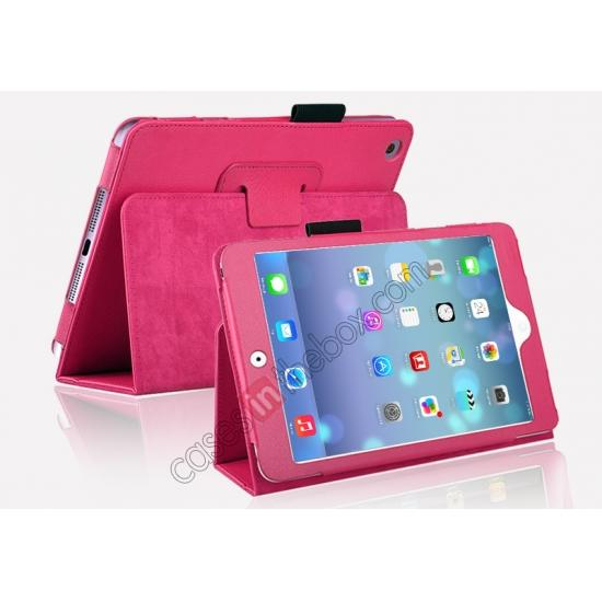 folio case for ipad mini 2 retina with pen clip,cheap Magnetic PU Leather Smart Cover Case for iPad mini Retina 2 - Hot Pink