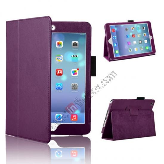 leather case for macbook retina,wholesale Magnetic PU Leather Smart Cover Case for iPad mini Retina 2 - Purple