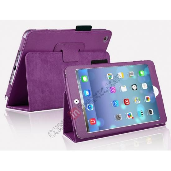 for mini retina ipad aluminum case,cheap Magnetic PU Leather Smart Cover Case for iPad mini Retina 2 - Purple