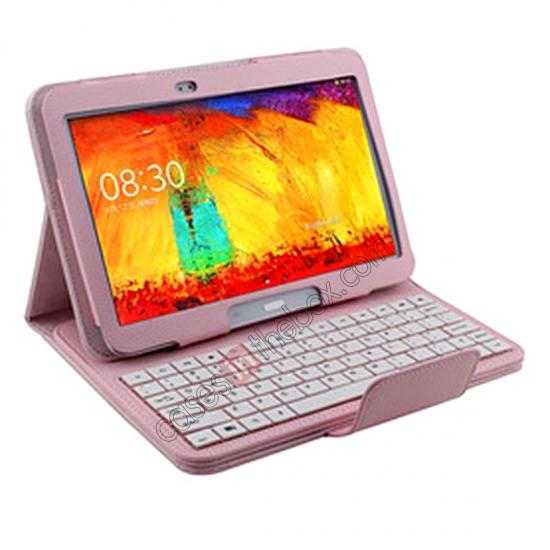 discount Bluetooth Keyboard Leather Case For Samsung Galaxy Note 10.1 2014 Edition P600 - Pink