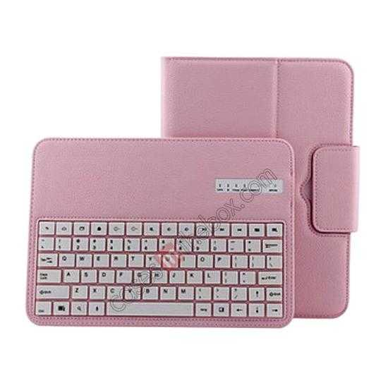 cheap Bluetooth Keyboard Leather Case For Samsung Galaxy Note 10.1 2014 Edition P600 - Pink