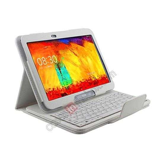 discount Bluetooth Keyboard Leather Case For Samsung Galaxy Note 10.1 2014 Edition P600 - White