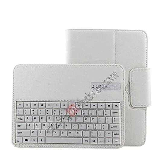 top quality Bluetooth Keyboard Leather Case For Samsung Galaxy Note 10.1 2014 Edition P600 - White