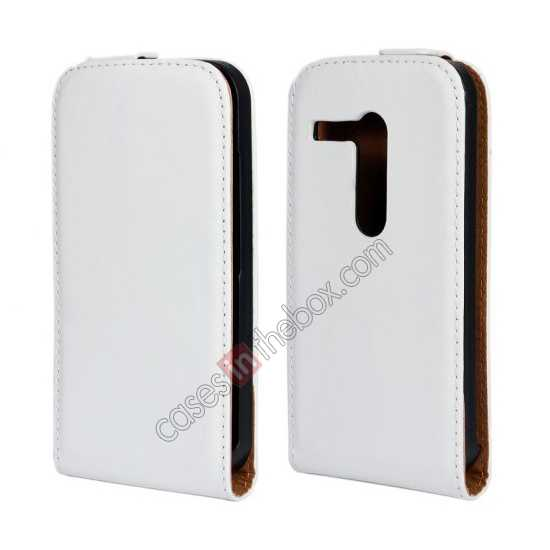 wholesale 100% Genuine Leather Vertical Flip Case Cover For Motorola Moto G - White