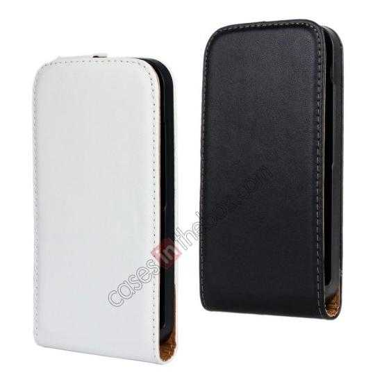 cheap 100% Genuine Leather Vertical Flip Case Cover For Motorola Moto G - White