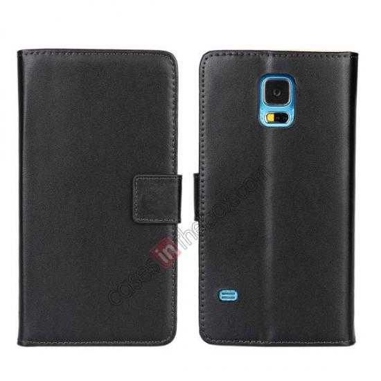 wholesale 100% Genuine Leather Wallet Case Card Holder Flip Cover For Samsung Galaxy S5 - Black