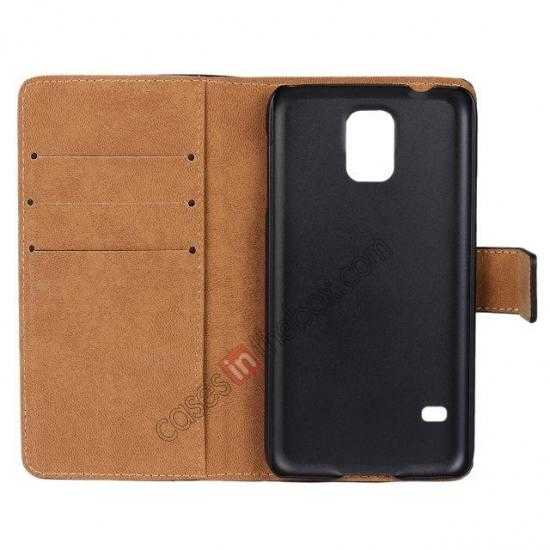 cheap 100% Genuine Leather Wallet Case Card Holder Flip Cover For Samsung Galaxy S5 - Black