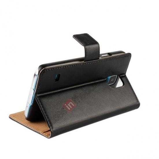 top quality 100% Genuine Leather Wallet Case Card Holder Flip Cover For Samsung Galaxy S5 - Black