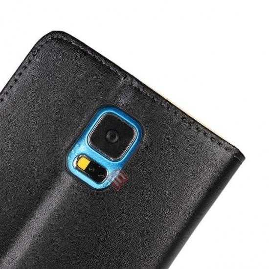 on sale 100% Genuine Leather Wallet Case Card Holder Flip Cover For Samsung Galaxy S5 - Black