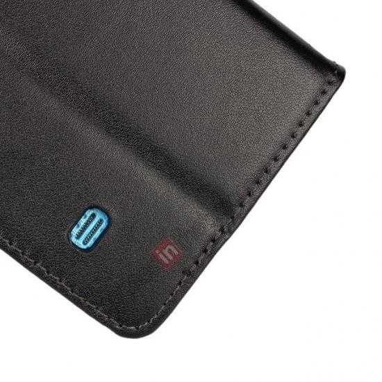 low price 100% Genuine Leather Wallet Case Card Holder Flip Cover For Samsung Galaxy S5 - Black