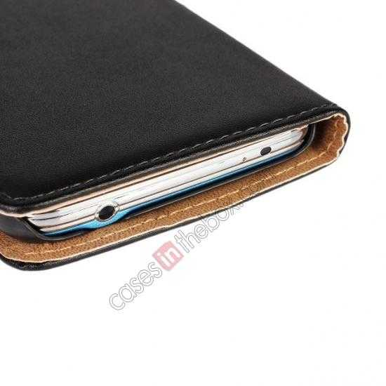 china wholesale 100% Genuine Leather Wallet Case Card Holder Flip Cover For Samsung Galaxy S5 - Black