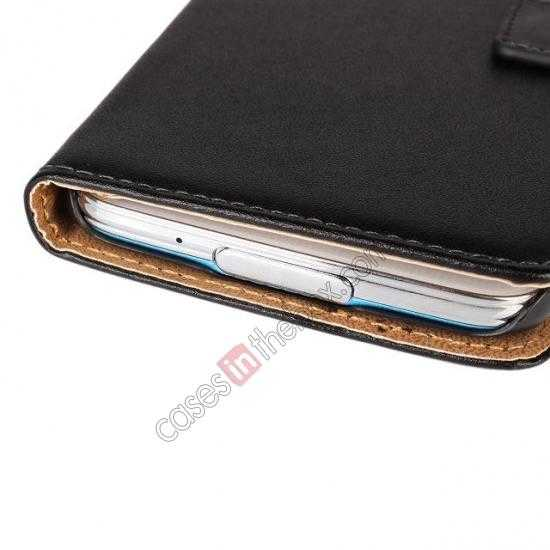 China leading wholesale 100% Genuine Leather Wallet Case Card Holder Flip Cover For Samsung Galaxy S5 - Black