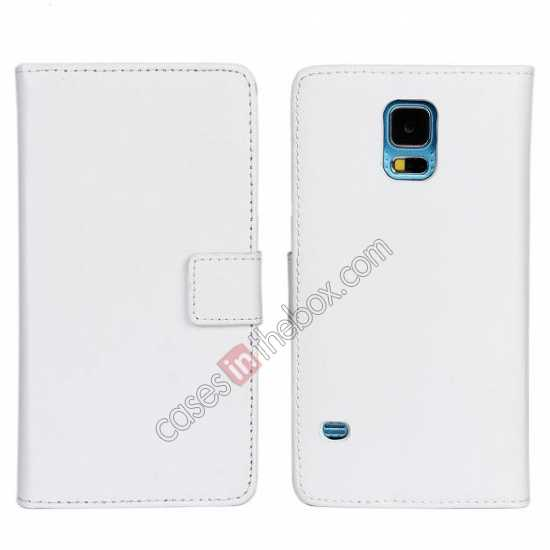 wholesale 100% Genuine Leather Wallet Case Card Holder Flip Cover For Samsung Galaxy S5 - White