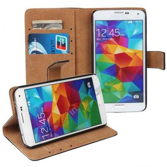 discount 100% Genuine Leather Wallet Case Card Holder Flip Cover For Samsung Galaxy S5 - White