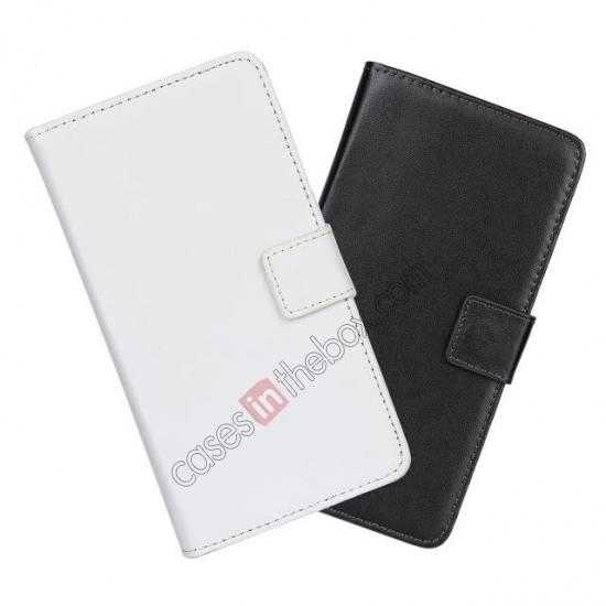 on sale 100% Genuine Leather Wallet Case Card Holder Flip Cover For Samsung Galaxy S5 - White
