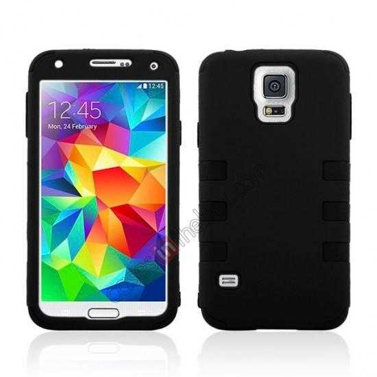 wholesale 3 in 1 Heavy Duty TPU Silicone Hard Case Cover for Samsung Galaxy S5 - Black