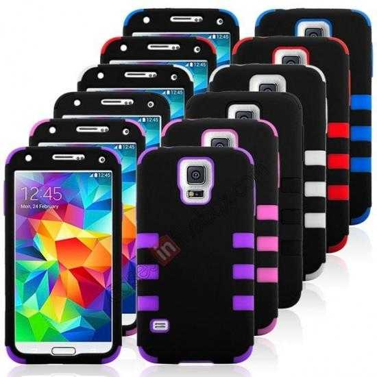 cheap 3 in 1 Heavy Duty TPU Silicone Hard Case Cover for Samsung Galaxy S5 - Black