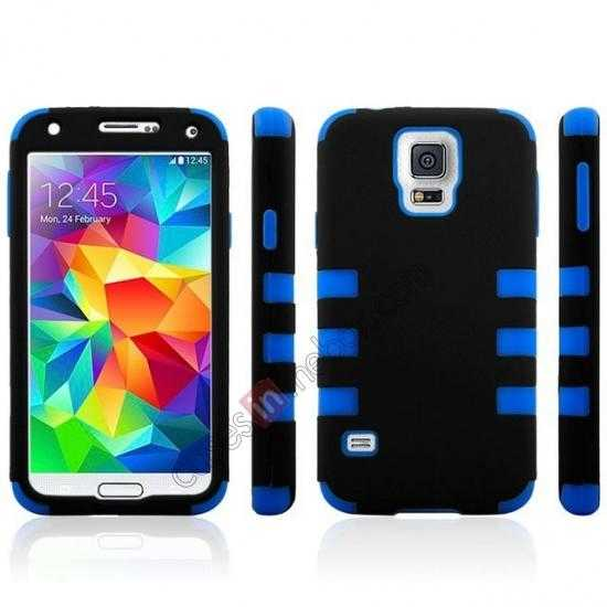 discount 3 in 1 Heavy Duty TPU Silicone Hard Case Cover for Samsung Galaxy S5 - Blue
