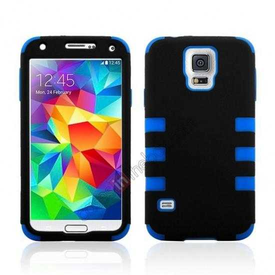 wholesale 3 in 1 Heavy Duty TPU Silicone Hard Case Cover for Samsung Galaxy S5 - Blue
