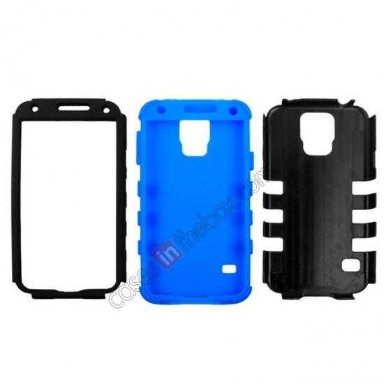 best price 3 in 1 Heavy Duty TPU Silicone Hard Case Cover for Samsung Galaxy S5 - Blue