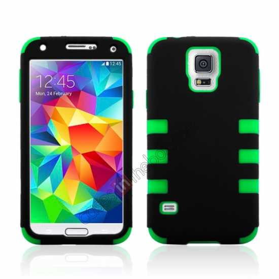 wholesale 3 in 1 Heavy Duty TPU Silicone Hard Case Cover for Samsung Galaxy S5 - Green