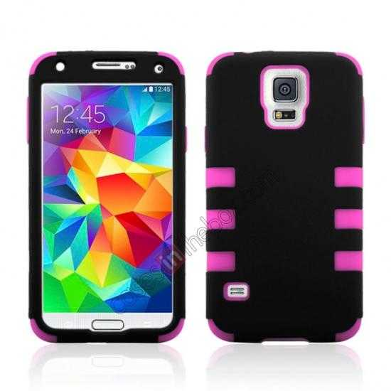 wholesale 3 in 1 Heavy Duty TPU Silicone Hard Case Cover for Samsung Galaxy S5 - Hot pink