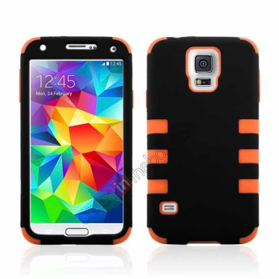 wholesale 3 in 1 Heavy Duty TPU Silicone Hard Case Cover for Samsung Galaxy S5 - Orange