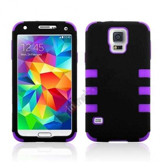 wholesale 3 in 1 Heavy Duty TPU Silicone Hard Case Cover for Samsung Galaxy S5 - Purple