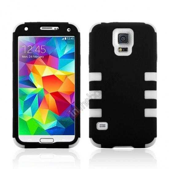 wholesale 3 in 1 Heavy Duty TPU Silicone Hard Case Cover for Samsung Galaxy S5 - White