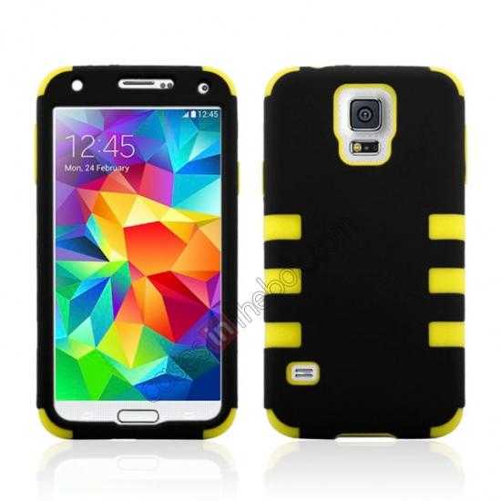 wholesale 3 in 1 Heavy Duty TPU Silicone Hard Case Cover for Samsung Galaxy S5 - Yellow