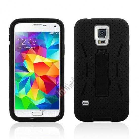 wholesale 3-in-1 Hybrid Silicone And Plastic Defender Case for Samsung Galaxy S5 - Black