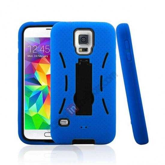 discount 3-in-1 Hybrid Silicone And Plastic Defender Case for Samsung Galaxy S5 - Blue