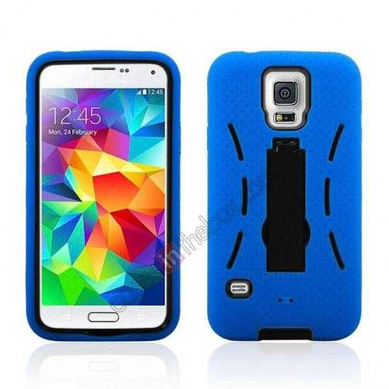 wholesale 3-in-1 Hybrid Silicone And Plastic Defender Case for Samsung Galaxy S5 - Blue
