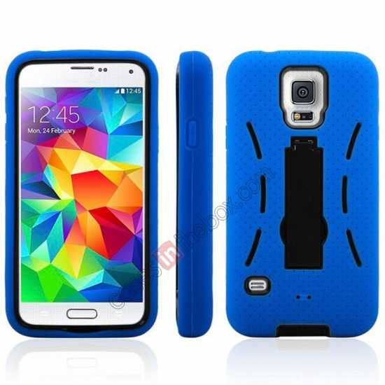 cheap 3-in-1 Hybrid Silicone And Plastic Defender Case for Samsung Galaxy S5 - Blue