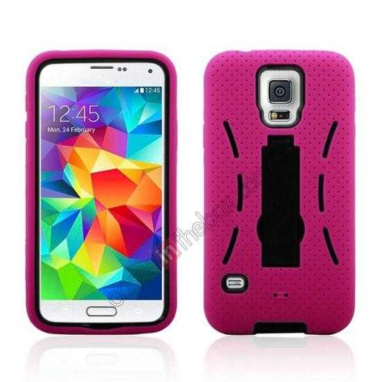 wholesale 3-in-1 Hybrid Silicone And Plastic Defender Case for Samsung Galaxy S5 - Rose red