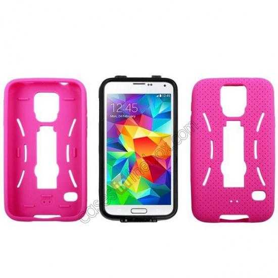 on sale 3-in-1 Hybrid Silicone And Plastic Defender Case for Samsung Galaxy S5 - Rose red