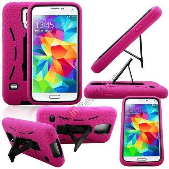 top quality 3-in-1 Hybrid Silicone And Plastic Defender Case for Samsung Galaxy S5 - Rose red