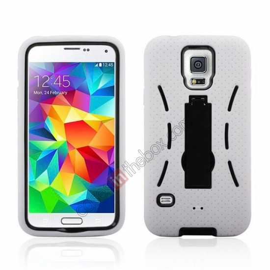 wholesale 3-in-1 Hybrid Silicone And Plastic Defender Case for Samsung Galaxy S5 - White
