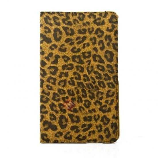 on sale 360 Rotary Leopard Skin Pattern Leather Case For Samsung Galaxy Tab Pro 8.4 T320 - Brown