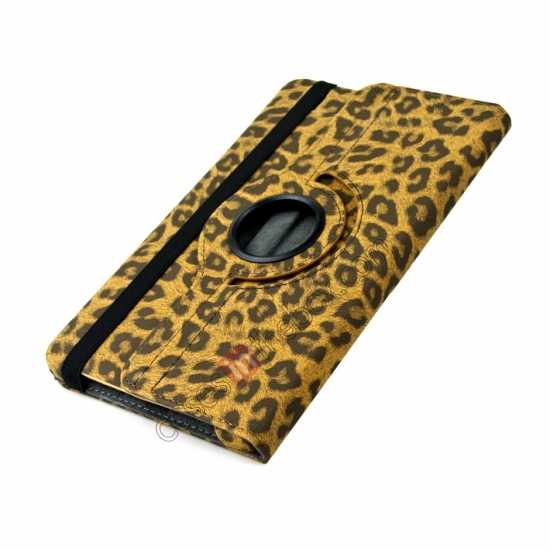 top quality 360 Rotary Leopard Skin Pattern Leather Case For Samsung Galaxy Tab Pro 8.4 T320 - Brown