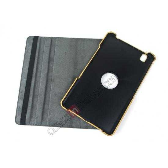 low price 360 Rotary Leopard Skin Pattern Leather Case For Samsung Galaxy Tab Pro 8.4 T320 - Brown