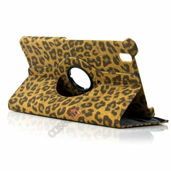 wholesale 360 Rotary Leopard Skin Pattern Leather Case For Samsung Galaxy Tab Pro 8.4 T320 - Brown