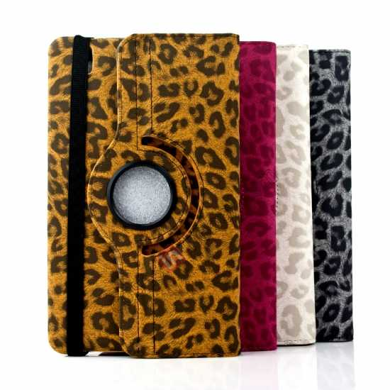 low price 360 Rotary Leopard Skin Pattern Leather Case For Samsung Galaxy Tab Pro 8.4 T320 - Rose red